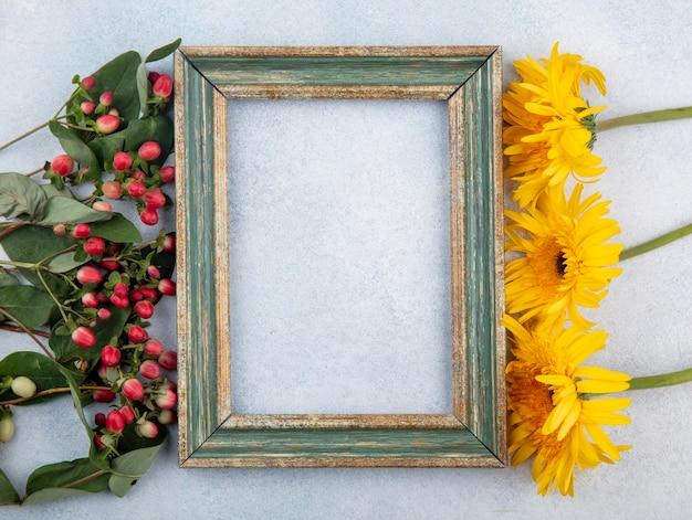 Bovenaanzicht van frame met bloemen aan zijkanten op wit met kopie ruimte Gratis Foto