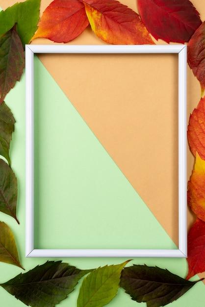 Bovenaanzicht van frame met herfstbladeren Gratis Foto