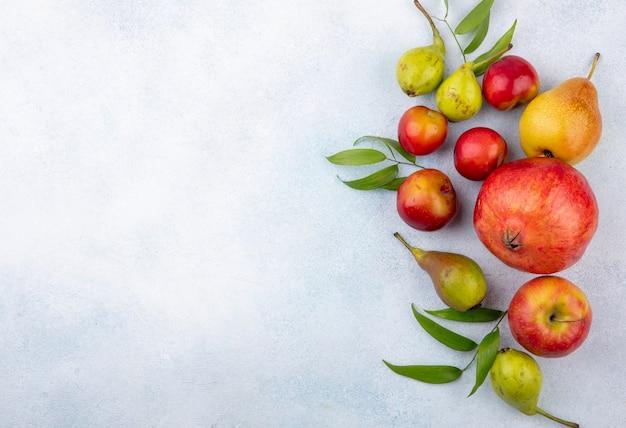Bovenaanzicht van fruit als pruim appel perzik en granaatappel op witte ondergrond Gratis Foto