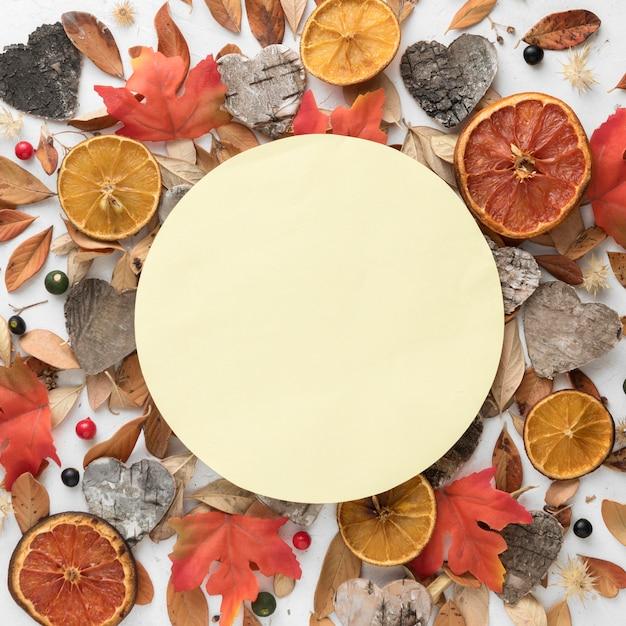 Bovenaanzicht van herfstbladeren met gedroogde citrus en kopieer de ruimte Premium Foto