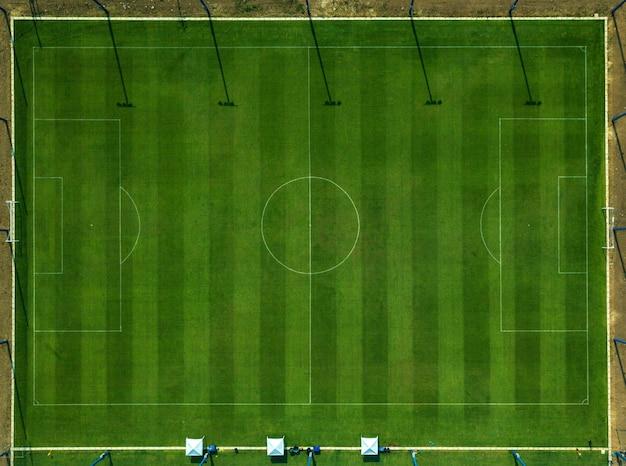 Bovenaanzicht van het voetbalveld. Premium Foto