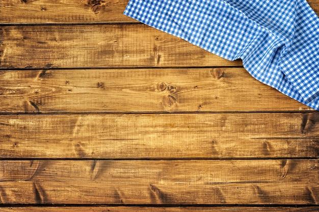 Bovenaanzicht van houten bruin met blauwe tussue Premium Foto