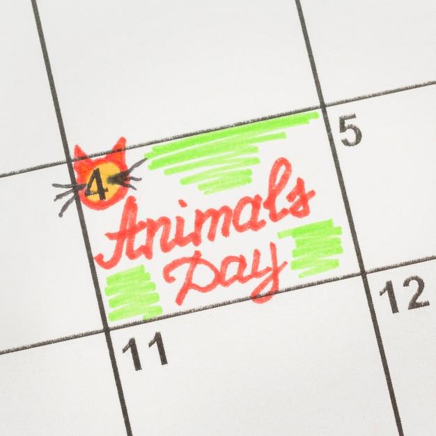 Bovenaanzicht van kalender voor dierendag Gratis Foto