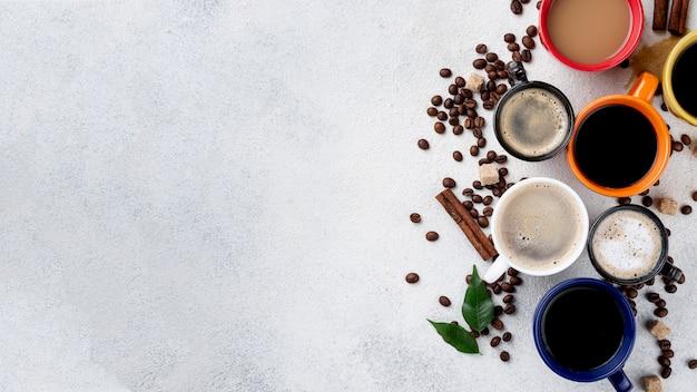 Bovenaanzicht van koffie concept met kopie ruimte Gratis Foto