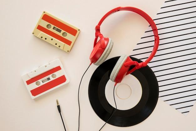 Bovenaanzicht van koptelefoon muziek concept Gratis Foto