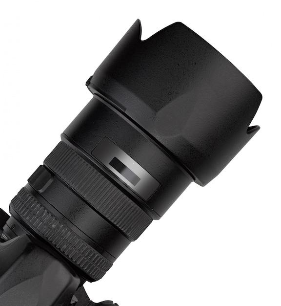 Bovenaanzicht van lens van een professionele digitale lensreflex Premium Foto