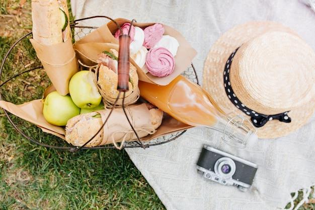 Bovenaanzicht van mand met appels, brood en een fles sinaasappelsap. foto van bovenaf van voedsel voor de lunch, camera en strooien hoed liggend op een witte deken op gras. Gratis Foto