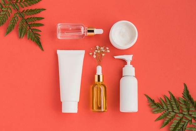 Bovenaanzicht van natuurlijke cosmetica concept Premium Foto