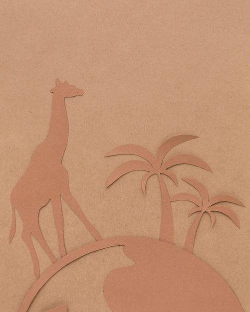 Bovenaanzicht van papieren planeet met dieren voor dierendag Gratis Foto