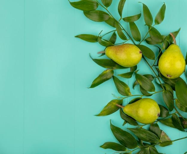 Bovenaanzicht van patroon van peren met bladeren op blauwe achtergrond met kopie ruimte Gratis Foto