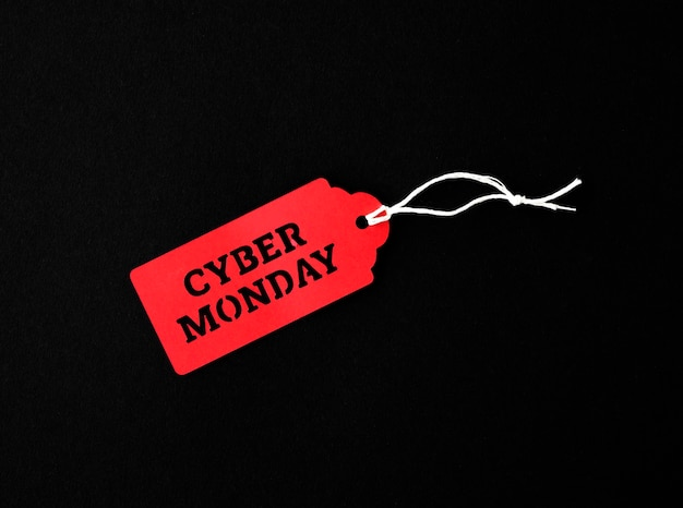Bovenaanzicht van tag voor cyber maandag Gratis Foto