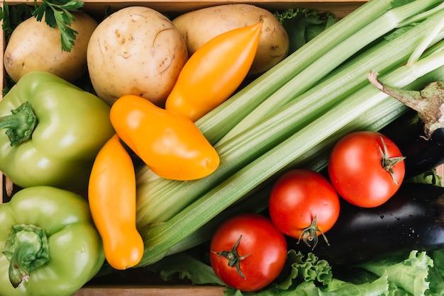 Bovenaanzicht van verschillende verse groenten Gratis Foto