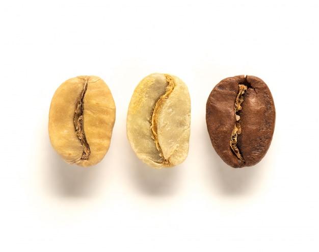 Bovenaanzicht van witte, groene en bruine koffieboon Premium Foto