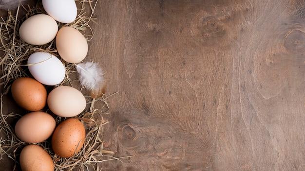 Bovenaanzicht verse kippeneieren Gratis Foto