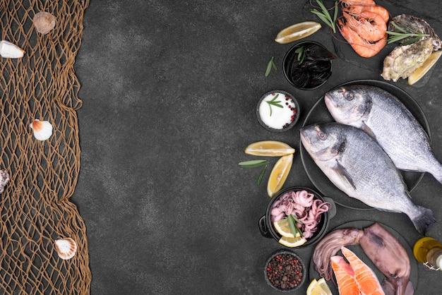 Bovenaanzicht verse vis en vis netto kopie ruimte Premium Foto