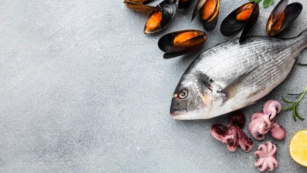 Bovenaanzicht verse zeevruchten op tafel Gratis Foto