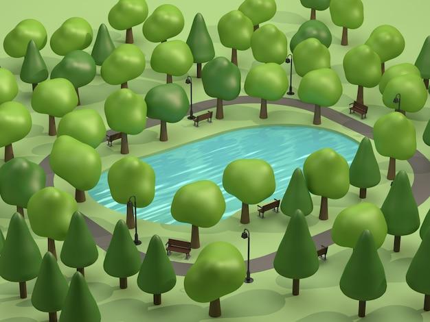 Bovenaanzicht vijver in groene parken en veel bomen laag poly 3d-rendering cartoon-stijl Premium Foto