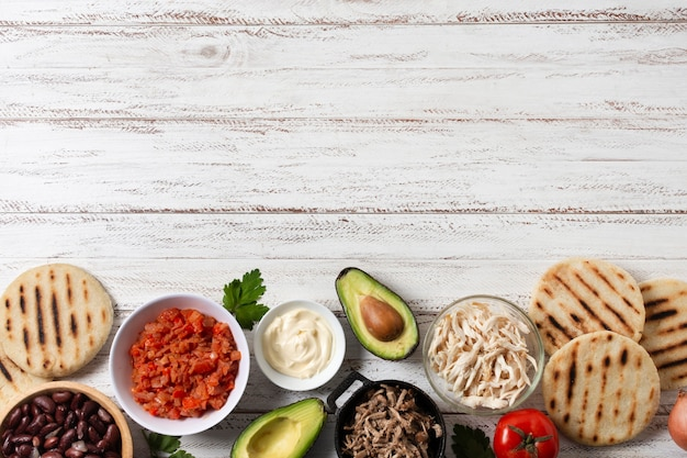 Bovenaanzicht voedsel frame met kopie-ruimte Gratis Foto