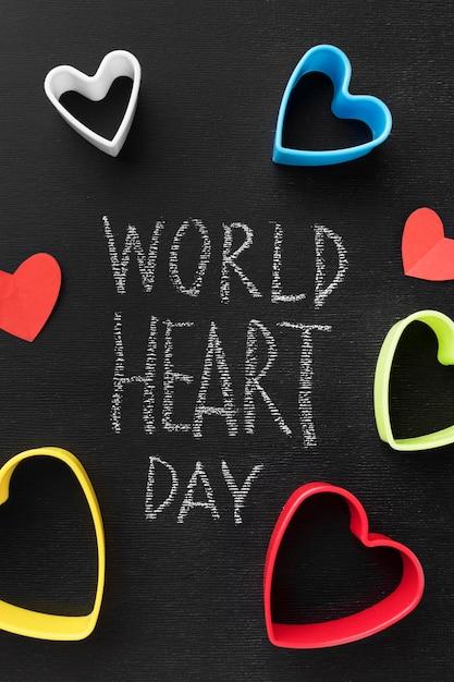 Bovenaanzicht wereld hart dag concept Gratis Foto