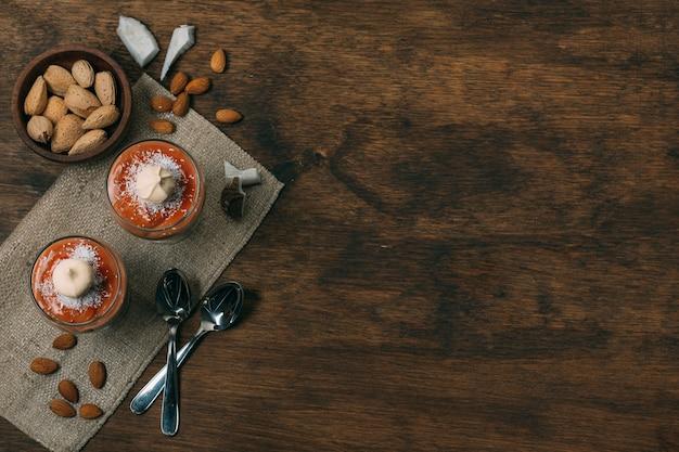 Bovenaanzicht winter dessert met kopie ruimte Gratis Foto