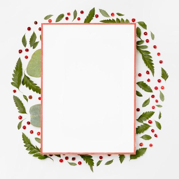Bovenaanzicht wit frame omgeven door groene bladeren Premium Foto
