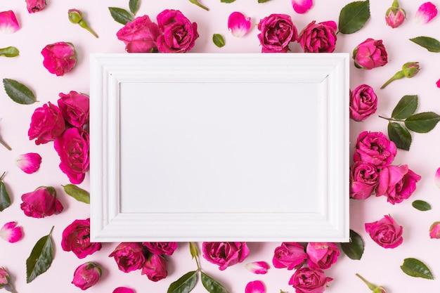 Bovenaanzicht wit frame omgeven door rozen Gratis Foto