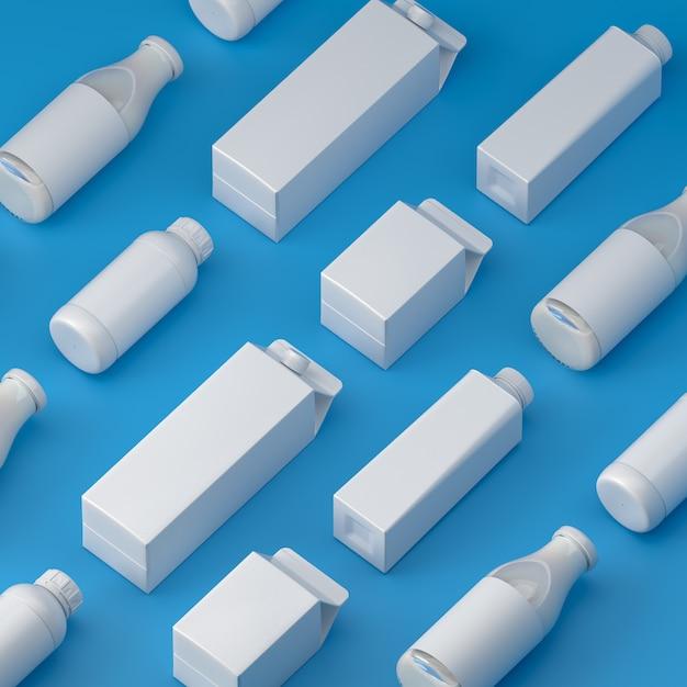 Bovenste bekeken soorten blanco melkverpakking op de blauwe achtergrond Premium Foto