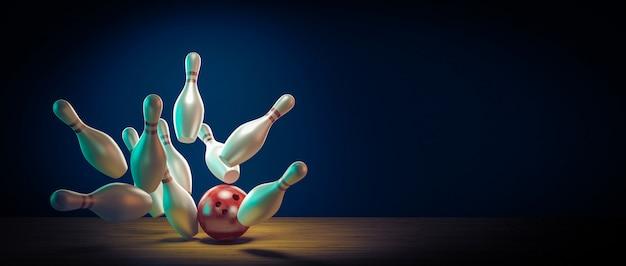 Bowlingbal raakt de pinnen door te slaan. Premium Foto