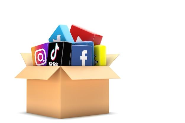 Box bevat social media iconen Premium Foto