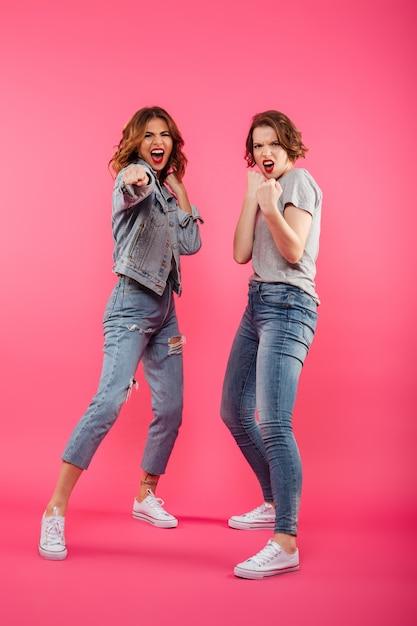 Boze twee vrouwenvrienden klaar om te vechten. Gratis Foto