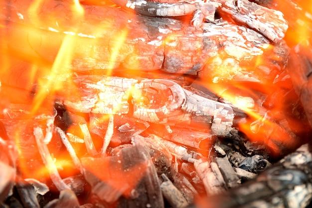 Brand; gele vlammen van een houtvuur tegen zwarte achtergrond Premium Foto