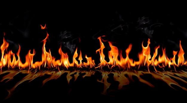 Brand vlammen met schaduw en rook Premium Foto