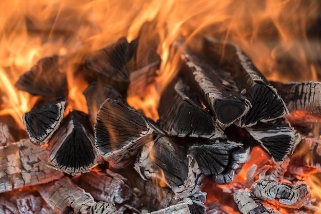 Brandend brandhout Premium Foto