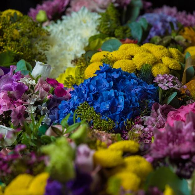 Brede selectie van natuurlijke bloemen in een bloemist Gratis Foto
