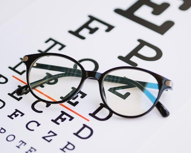 Bril met zwart frame op een blanco test Gratis Foto