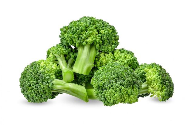 Broccoli op wit met het knippen van weg worden geïsoleerd die Premium Foto
