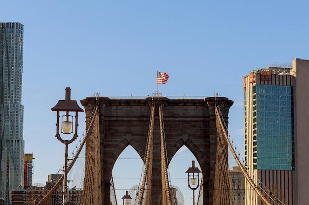 Brooklyn bridge, new york city, verenigde staten Premium Foto