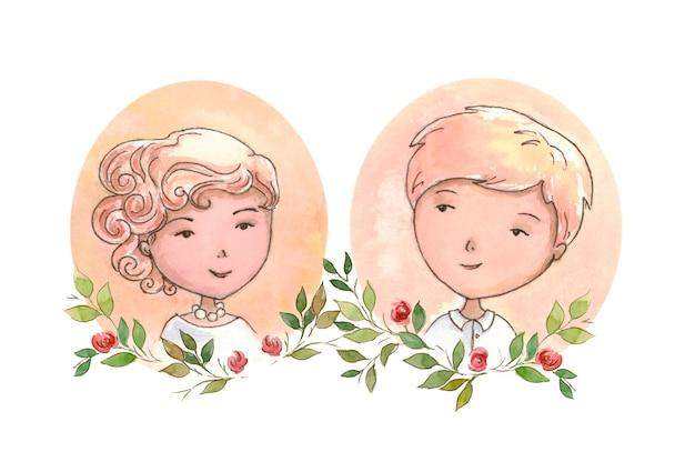 Bruiloft uitnodiging portret Premium Foto