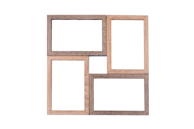 Bruin houten frame 4 foto's die op een witte achtergrond worden geïsoleerd Premium Foto