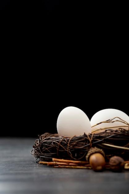 Bruin nest met witte eieren op een zwarte achtergrond Gratis Foto