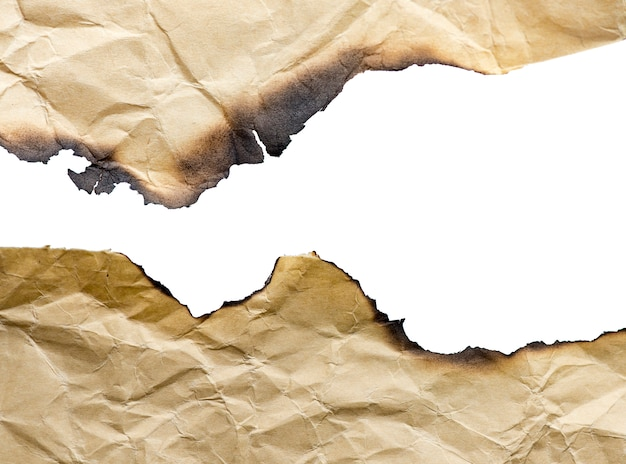 Bruin uitstekend gebrand document, geïsoleerde details, grote achtergrond, textuur Premium Foto