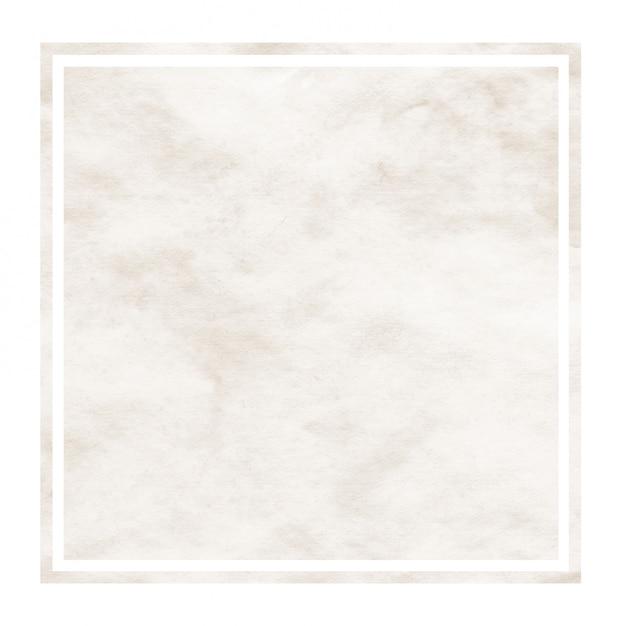 Bruine hand getrokken van het waterverf rechthoekige kader textuur als achtergrond met vlekken Premium Foto