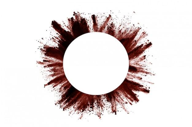 Bruine kleurenpoederexplosie op wit. Premium Foto
