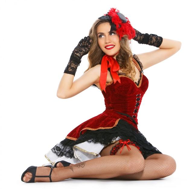 Burlesque. aantrekkelijk meisje in een mooie jurk Gratis Foto