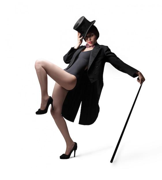 Cabaretdanser met hoge hoed Premium Foto