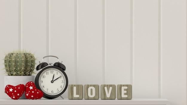 Cactus op tafel valentine hart bureau klok met tekst liefde voor de houten kist Premium Foto