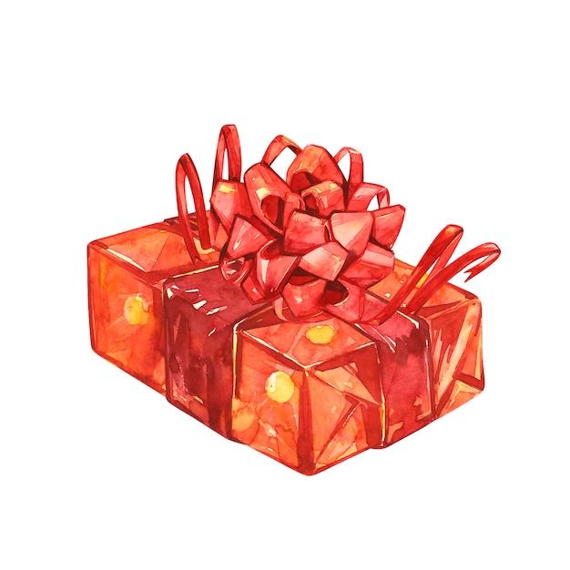 Cadeau met grote rode strik. set van aquarel illustraties van kerst decor. symbool van gelukkig kerstfeest. Premium Foto