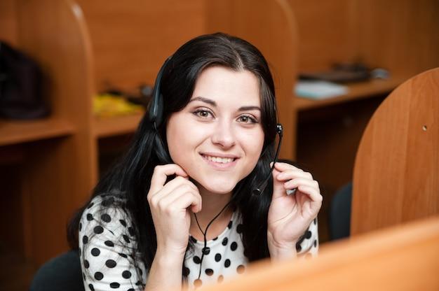Call center meisje Premium Foto