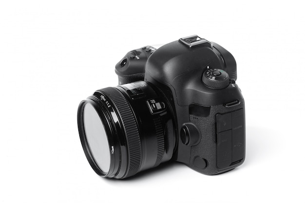 Camera op wit wordt geïsoleerd dat Premium Foto