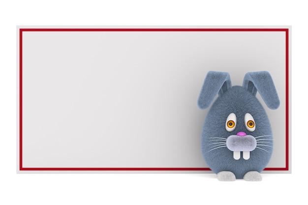 Cartoon konijn en banner op witte ruimte. geïsoleerde 3d-afbeelding Premium Foto